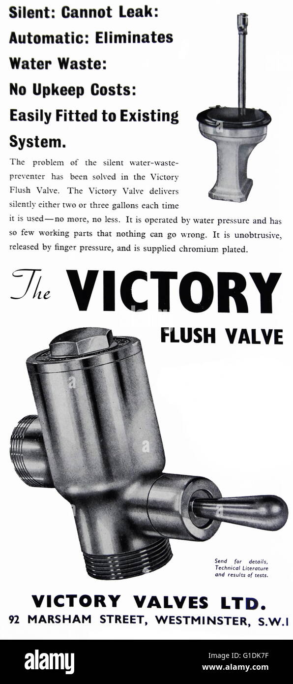 Advert for the Victory Flush Valve from Victory Valves Ltd. - Stock Image