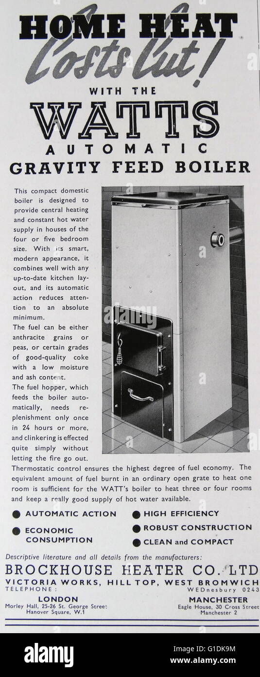 Advert for a Watts Automatic Gravity Feed Boiler - Stock Image