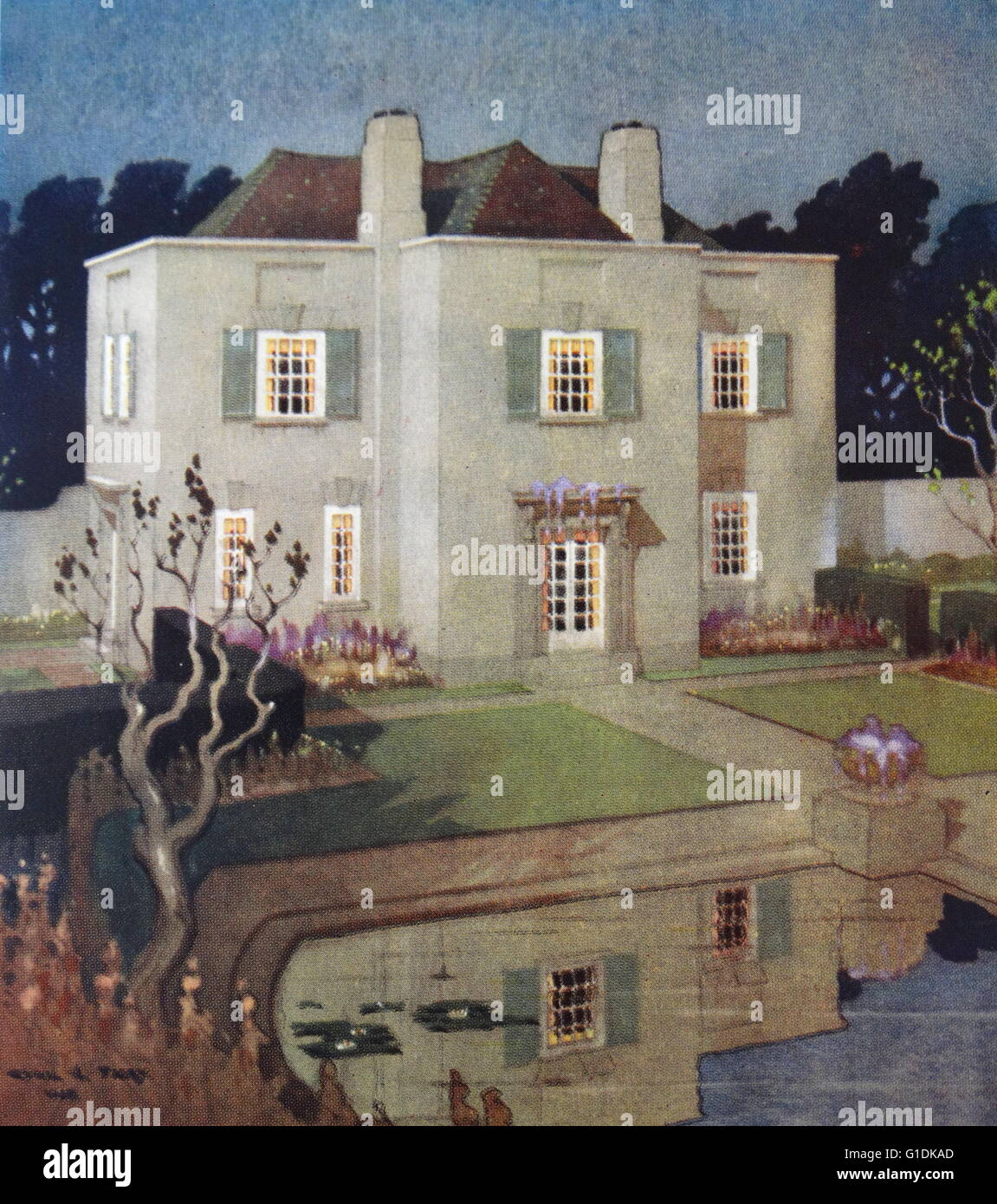 Painting Of A Modern English Home Dated 20th Century