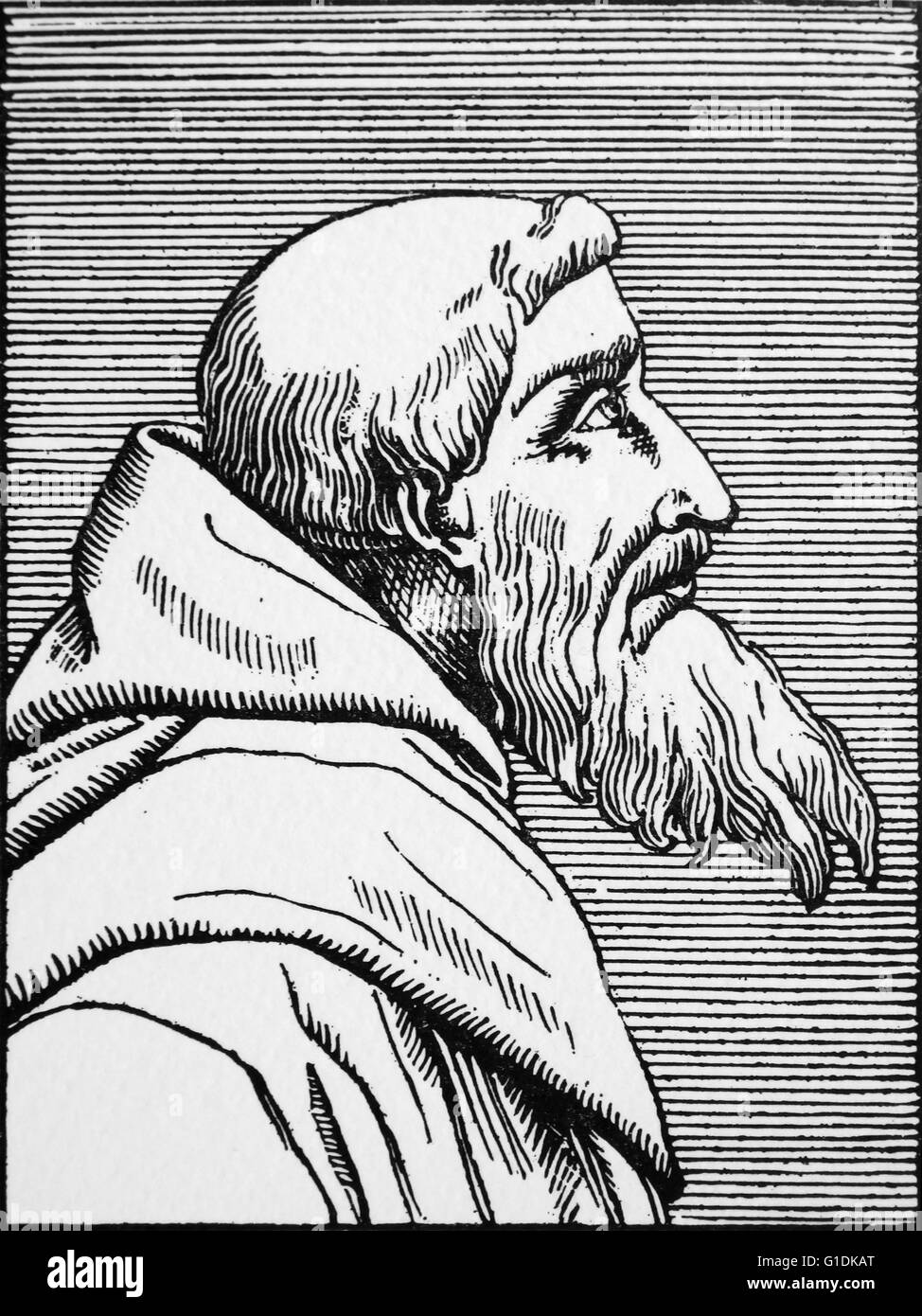 Engraving of Bernardino Ochino (1487-1564) an Italian, who was raised a Roman Catholic and later turned to Protestantism. - Stock Image