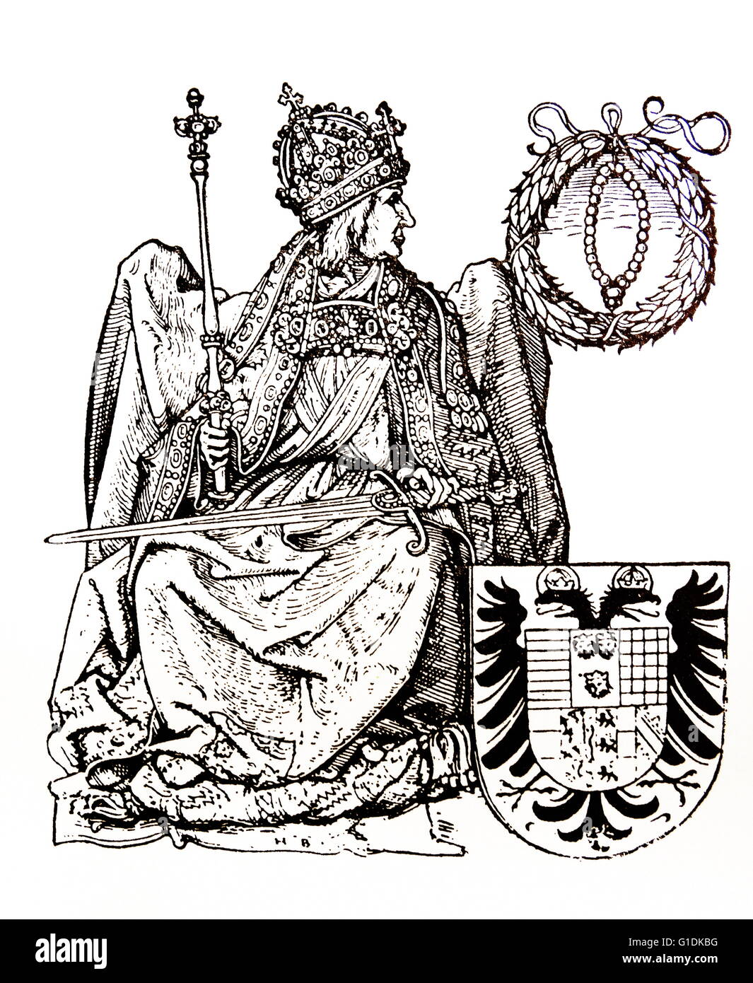 Woodcut depicting Frederick II, Holy Roman Emperor by Hans Burgkmair the Elder (1473-1531) a German painter and - Stock Image