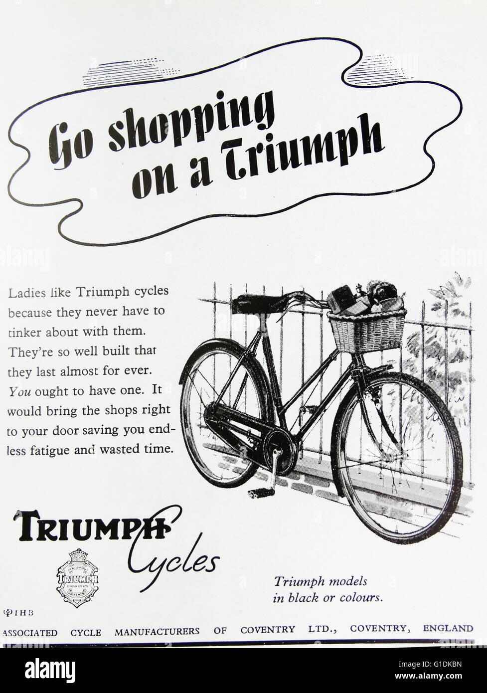Advert for Triumph Cycles. Dated 20th Century - Stock Image