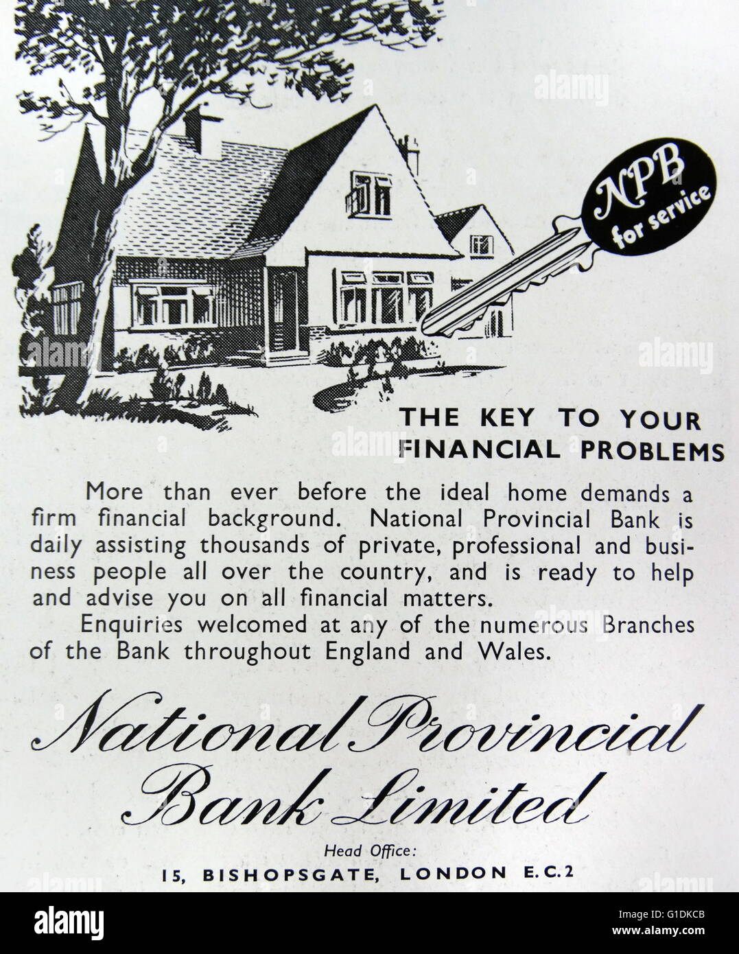Advert for National Provincial Bank Limited for financial advice - Stock Image