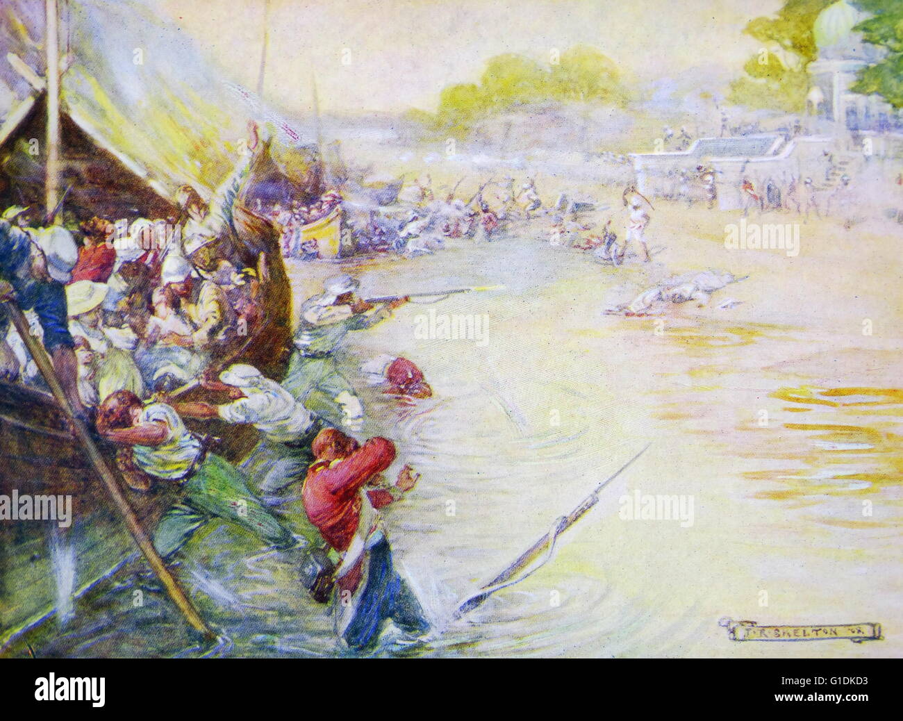 Painting depicting soldiers and their boats stuck in the mud by Joseph Ratcliffe Skelton (1865-1888) British artist. - Stock Image