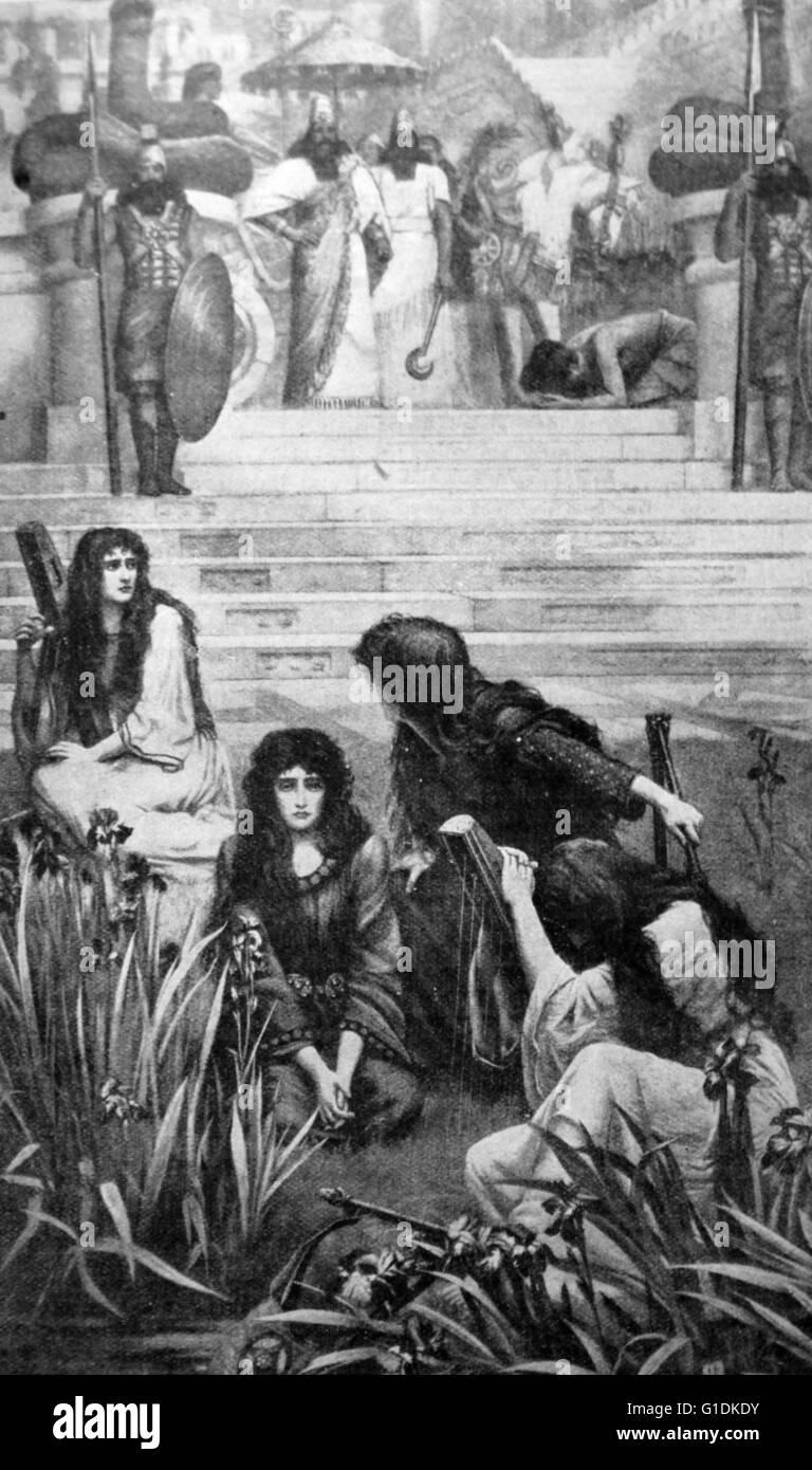 Painting depicting the Jews by the waters of Babylon Stock Photo