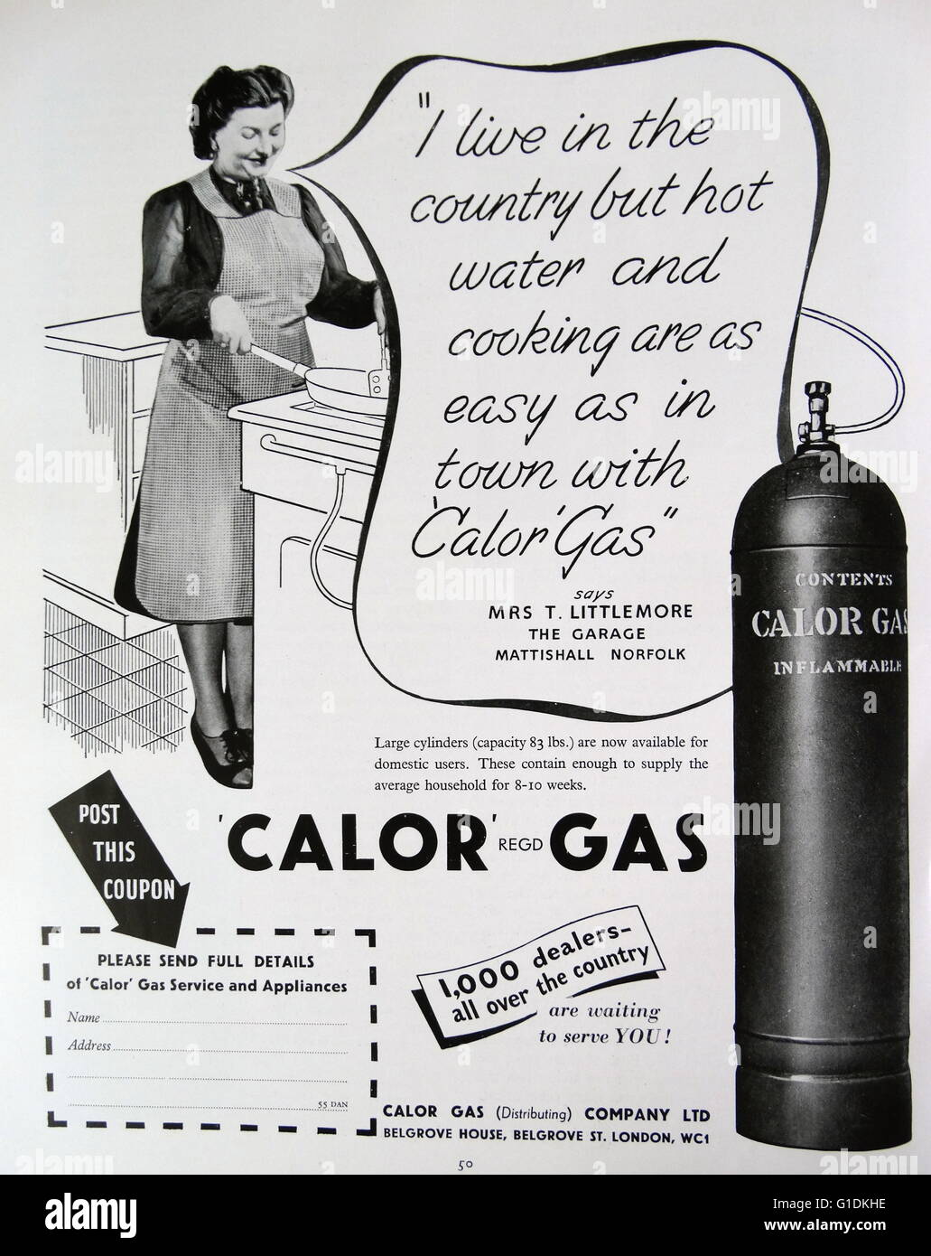 Advert for Calor Gas canisters - Stock Image