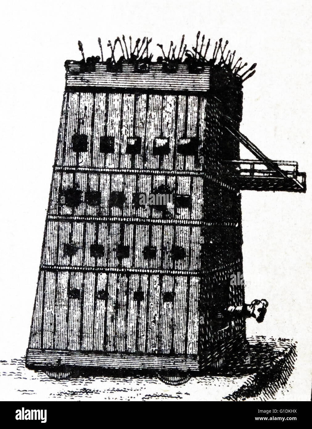 Weapons of Medieval warfare. A movable tower - Stock Image