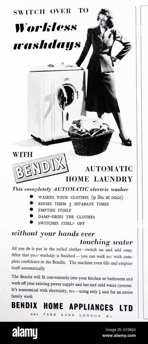 Advert for a Bendix automatic electric washer - Stock Image