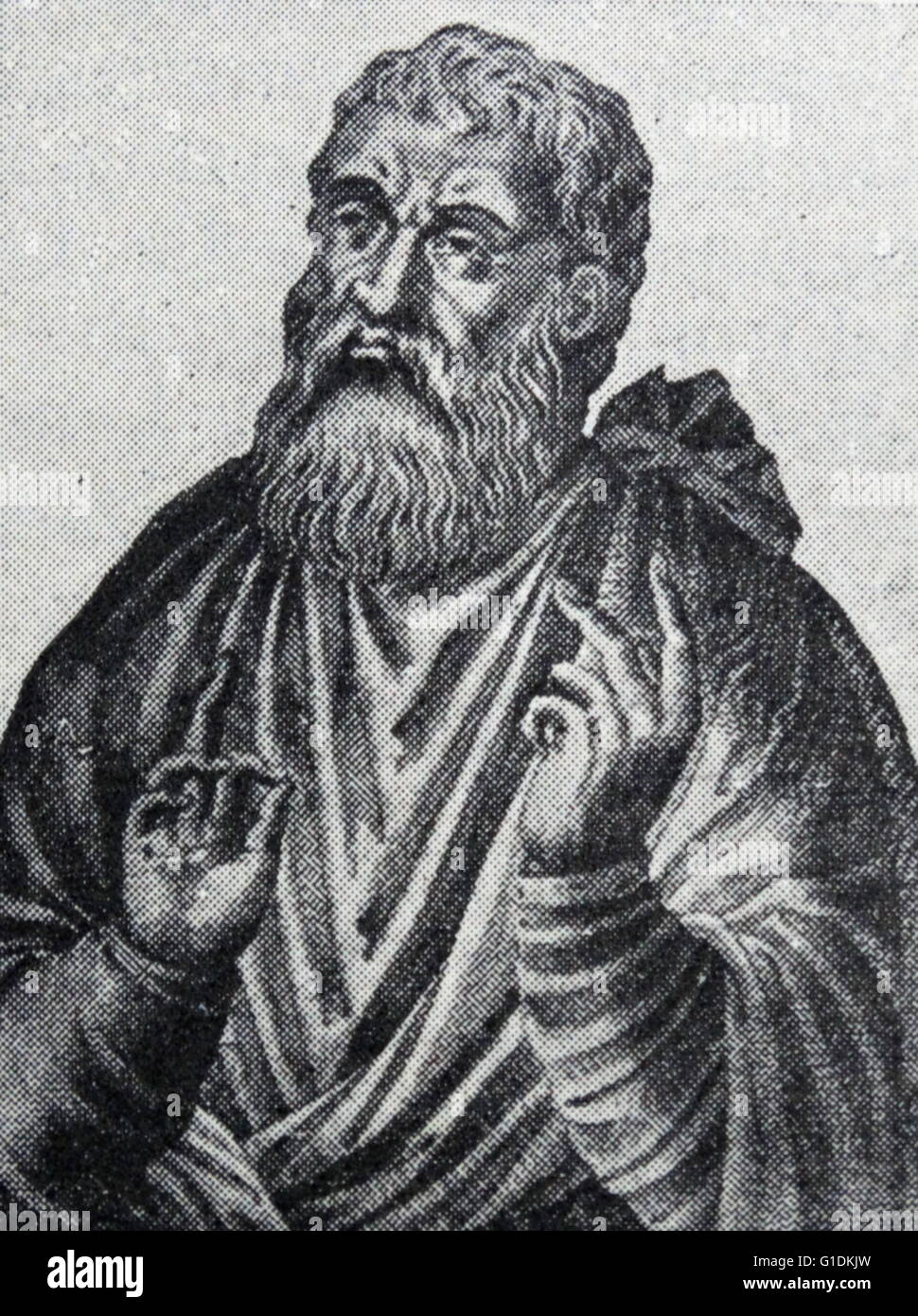 Portrait of Justin Martyr (100-165) an early Christian apologist. - Stock Image