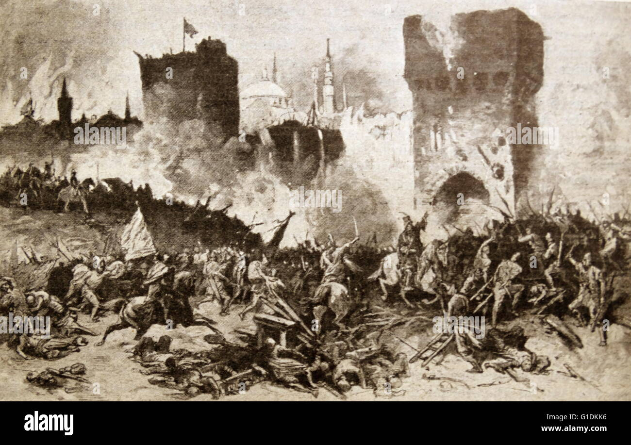 Painting depicting the final conquest of Constantinople the capital city of the Roman/Byzantine, the Latin, and - Stock Image