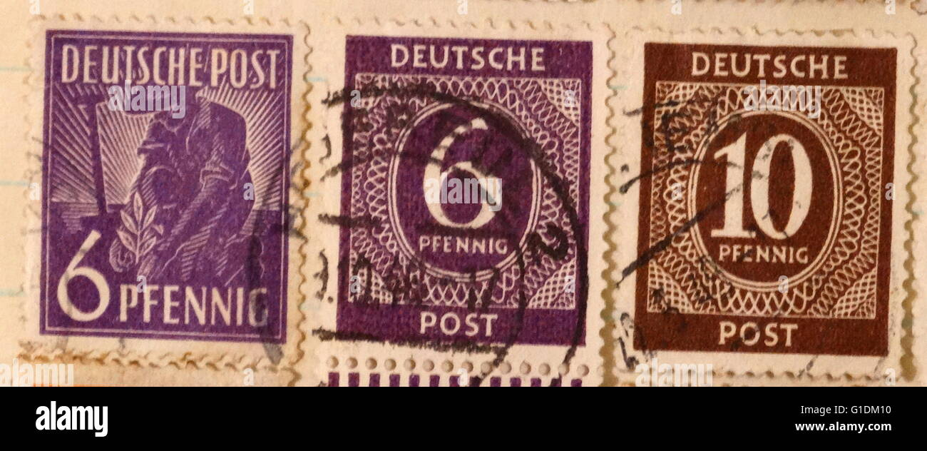 Deutsche post stamps used after the Second World War, replacing those of the Deutsche Reichspost. Dated 20th Century - Stock Image