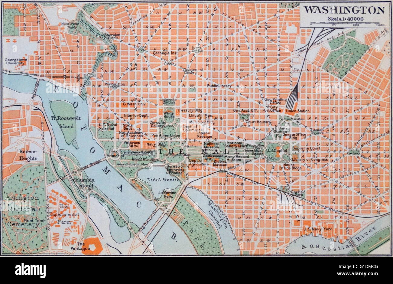 Map Of Washington D C During The 20th Century Stock Photo
