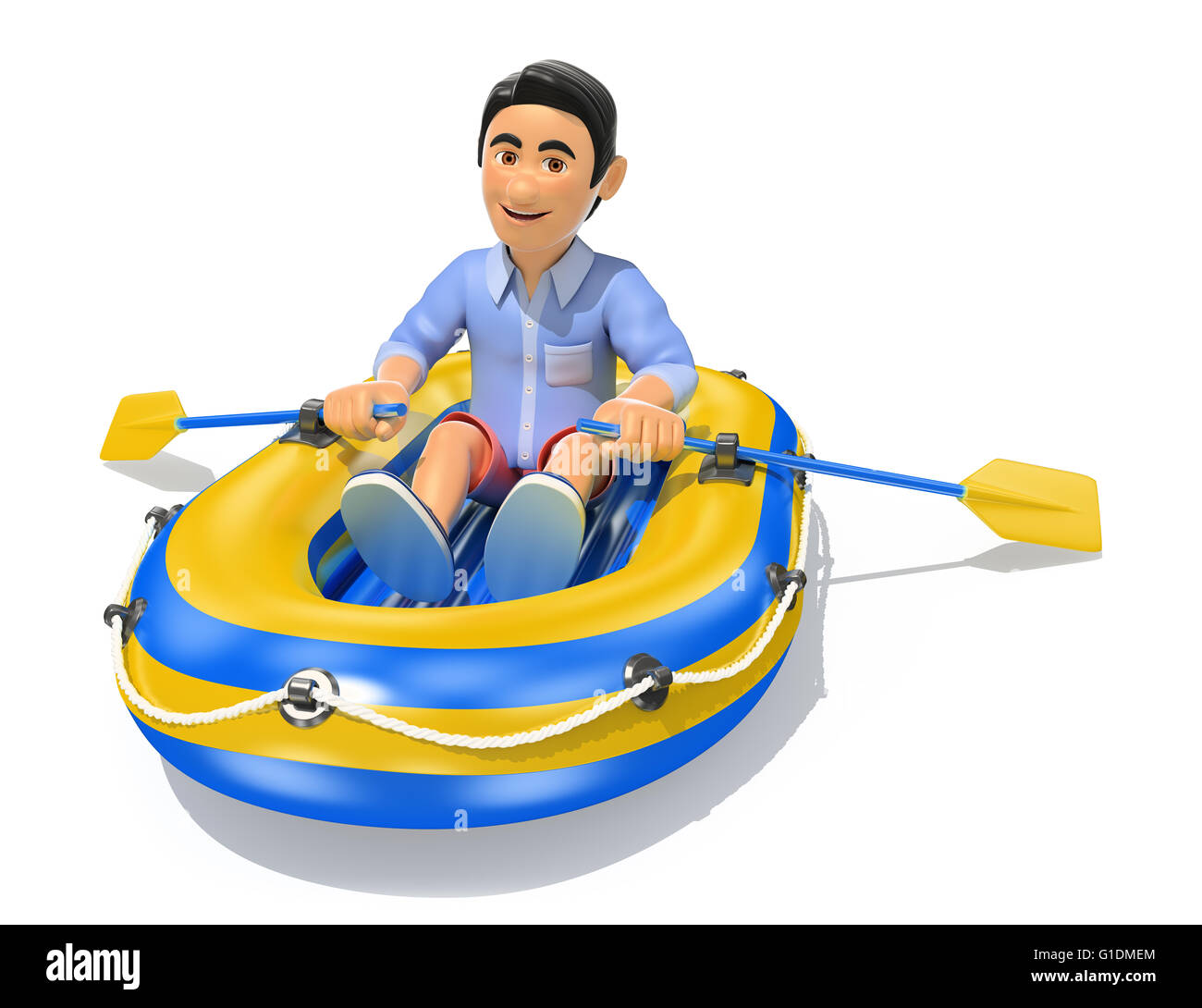 3d young people illustration. Man in shorts paddling a inflatable boat. Isolated white background. - Stock Image