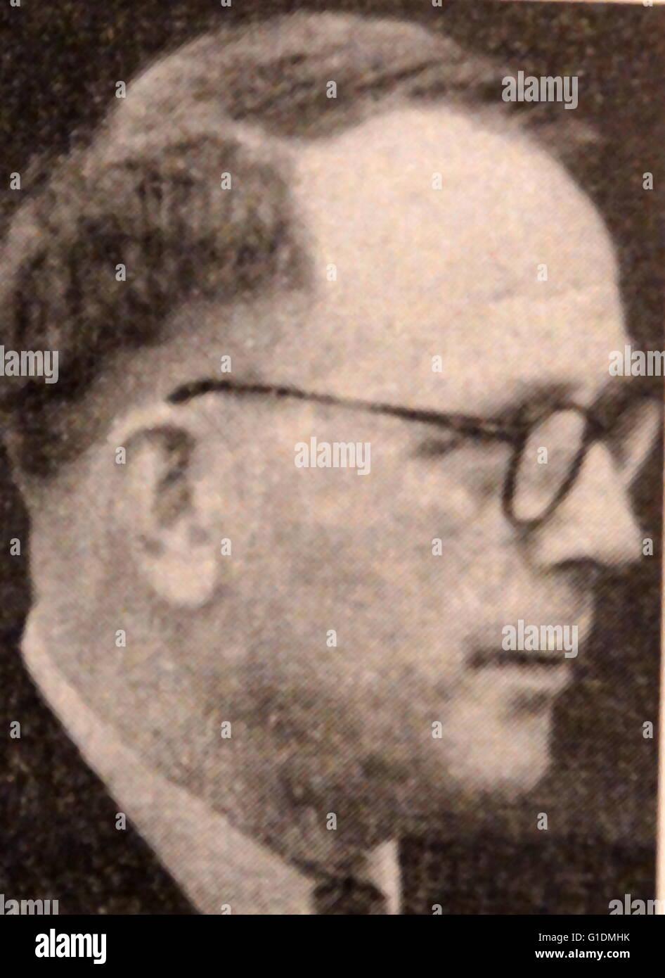 Photographic portrait of Artturi Ilmari Virtanen (1895-1973) a Finnish chemist and Nobel Prize Laureate. Dated 20th Stock Photo