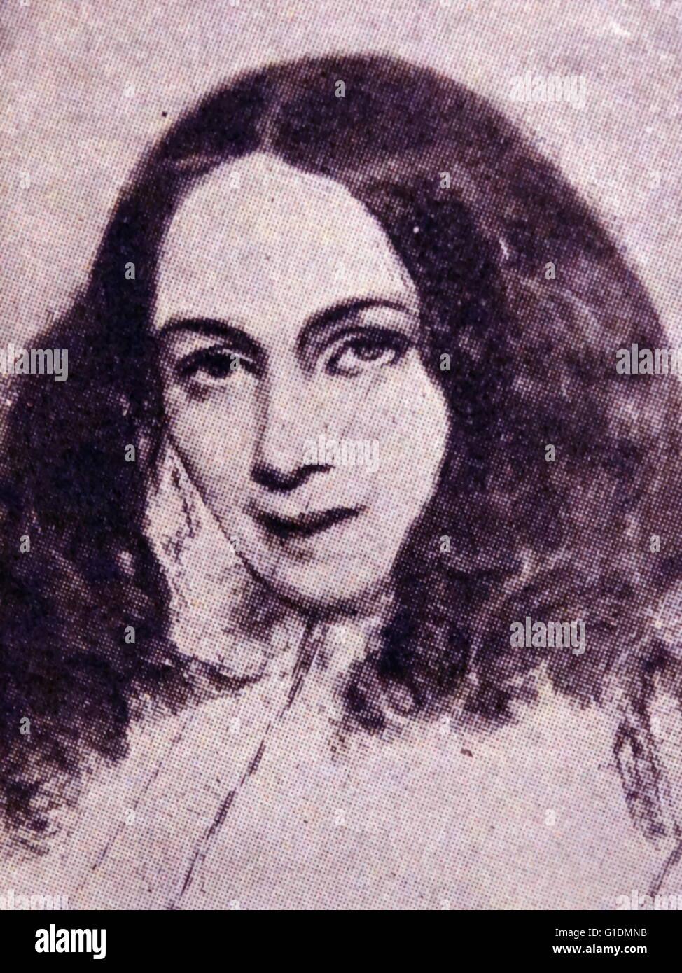 Portrait of Elizabeth Barrett Browning (1806-1861) English poet. Dated 19th Century - Stock Image