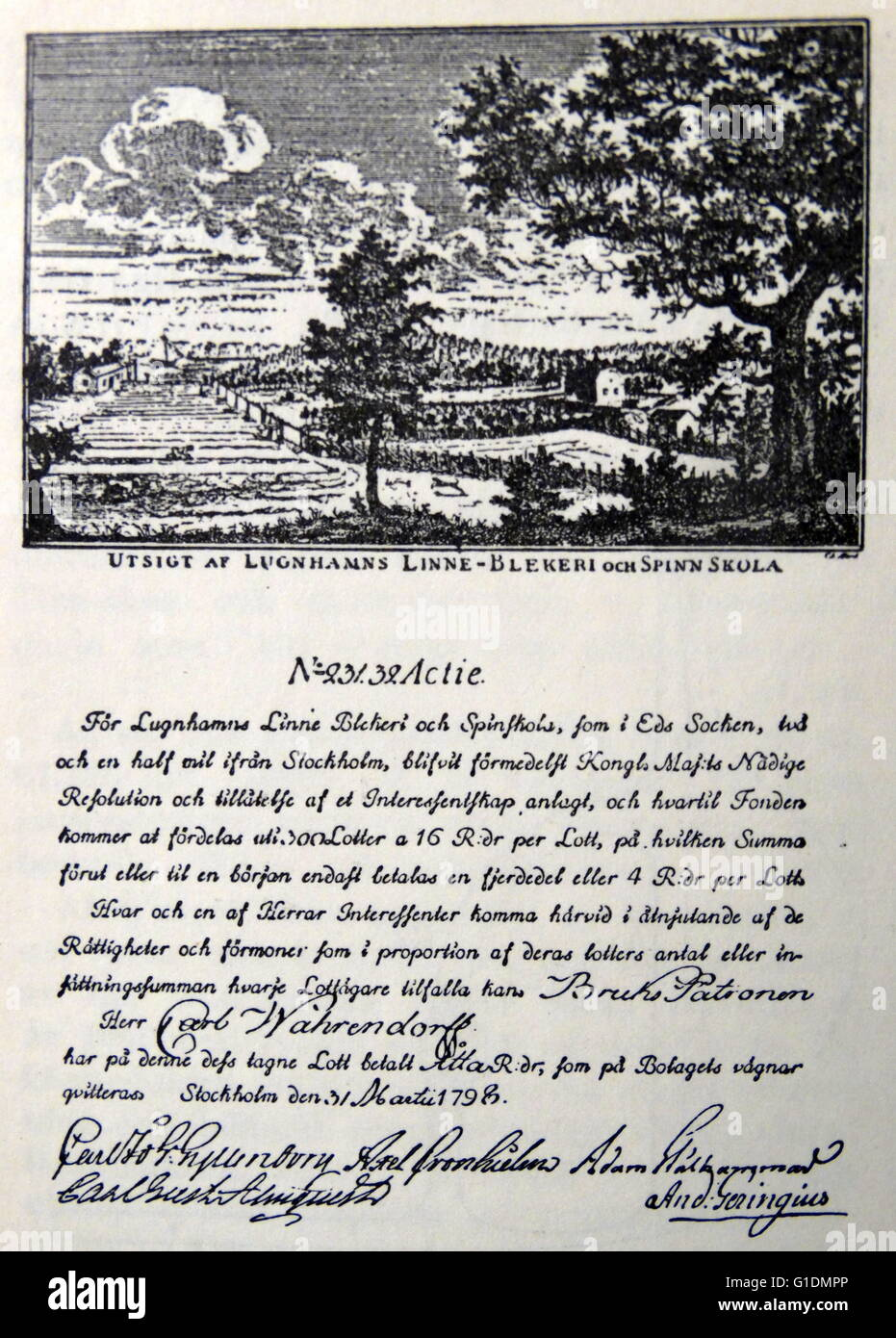 Copy of 18th Century Stock certificates. Dated 18th Century - Stock Image