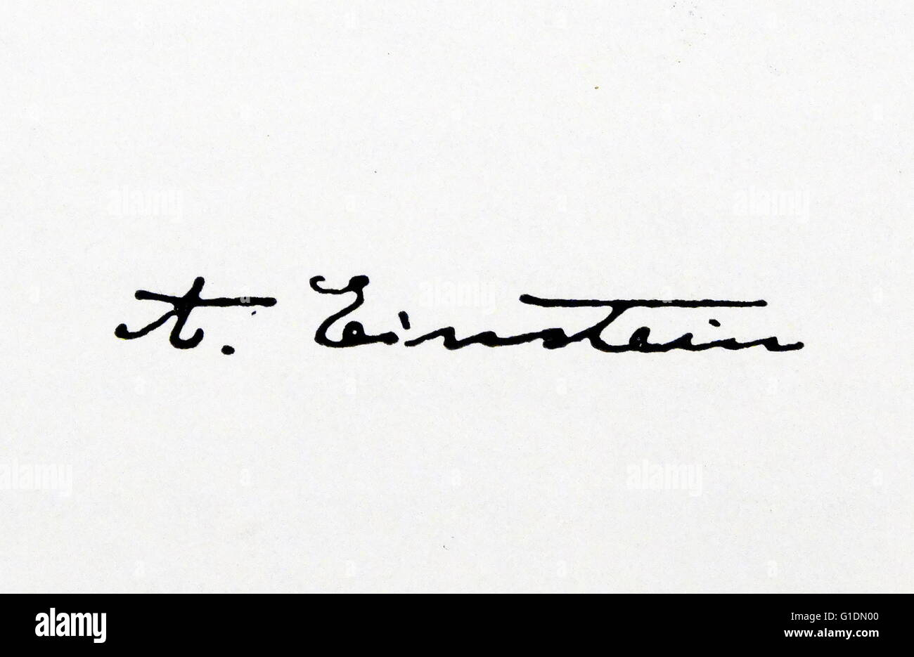 Signature of Albert Einstein (1879-1955) German-born theoretical physicist. Dated 20th Century - Stock Image