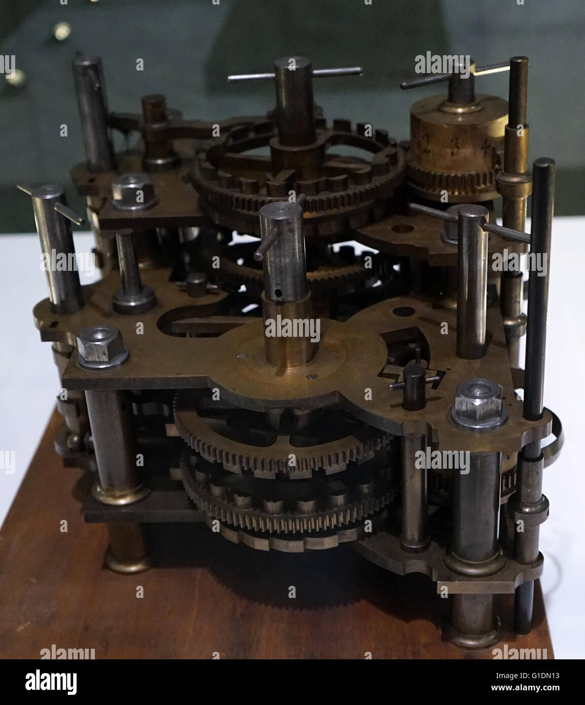The Babbage Engine by Charles Babbage (1791-1871) computer pioneer and designer. Dated 19th Century - Stock Image