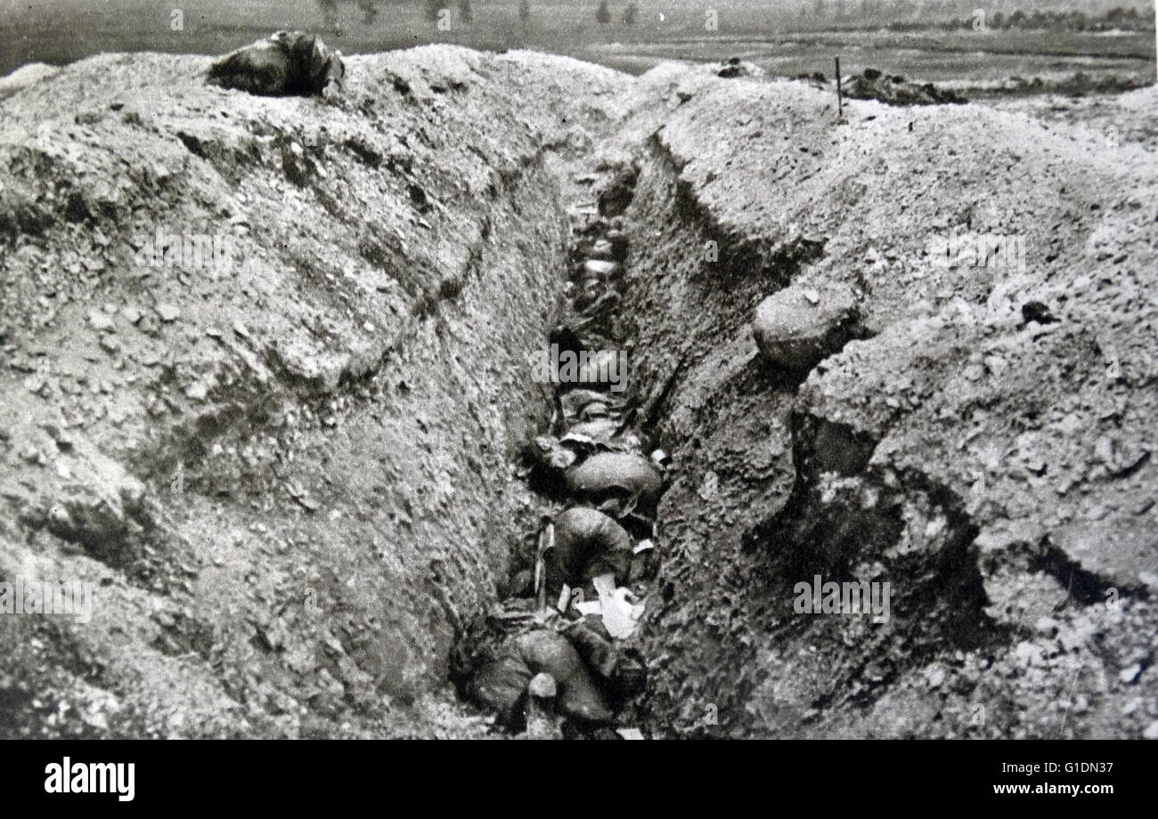 Photograph of a German trench used during The Great War. Dated 20th Century - Stock Image