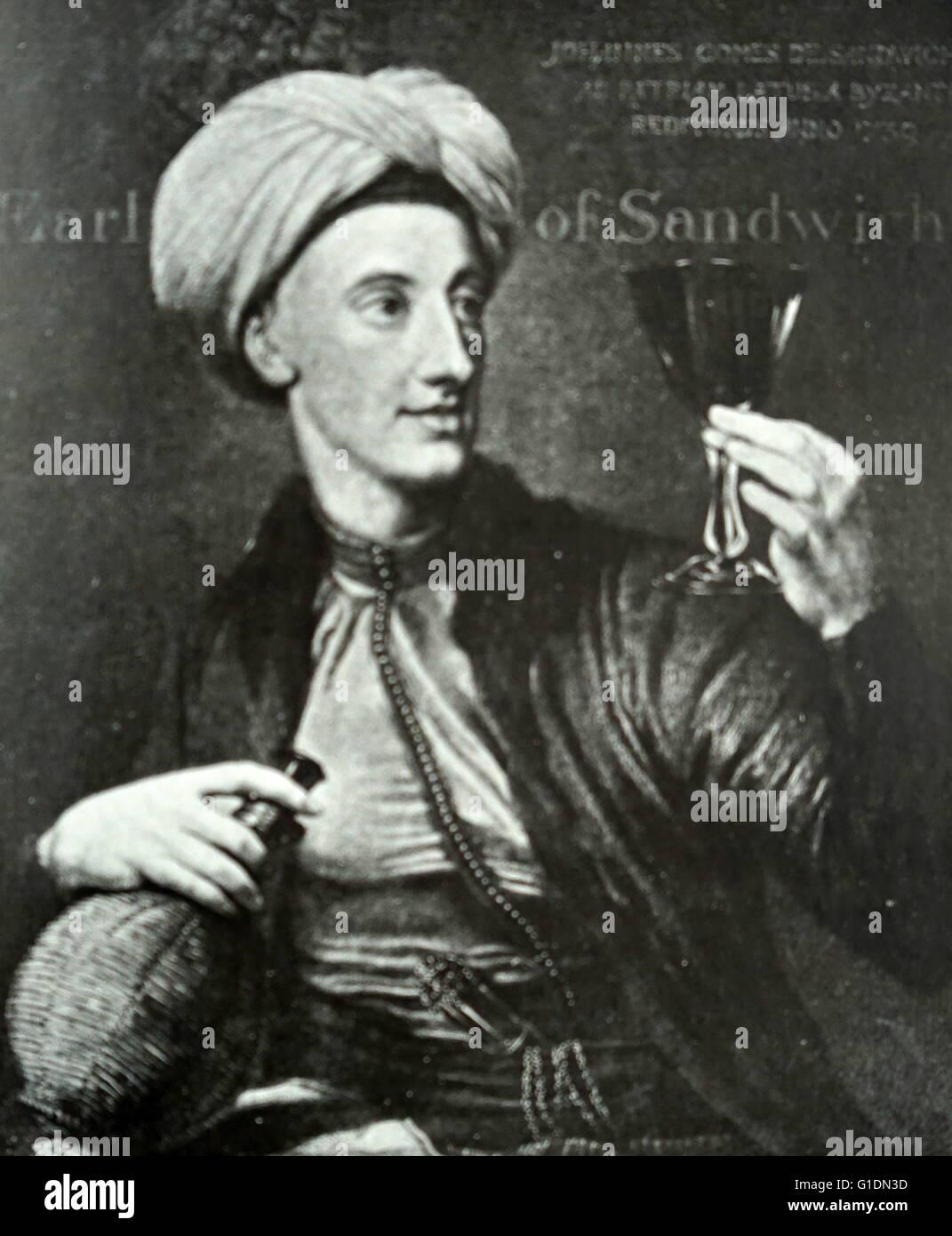 Portrait of John Montagu, 4th Earl of Sandwich (1718-1792) a British statesman. Dated 18th Century - Stock Image