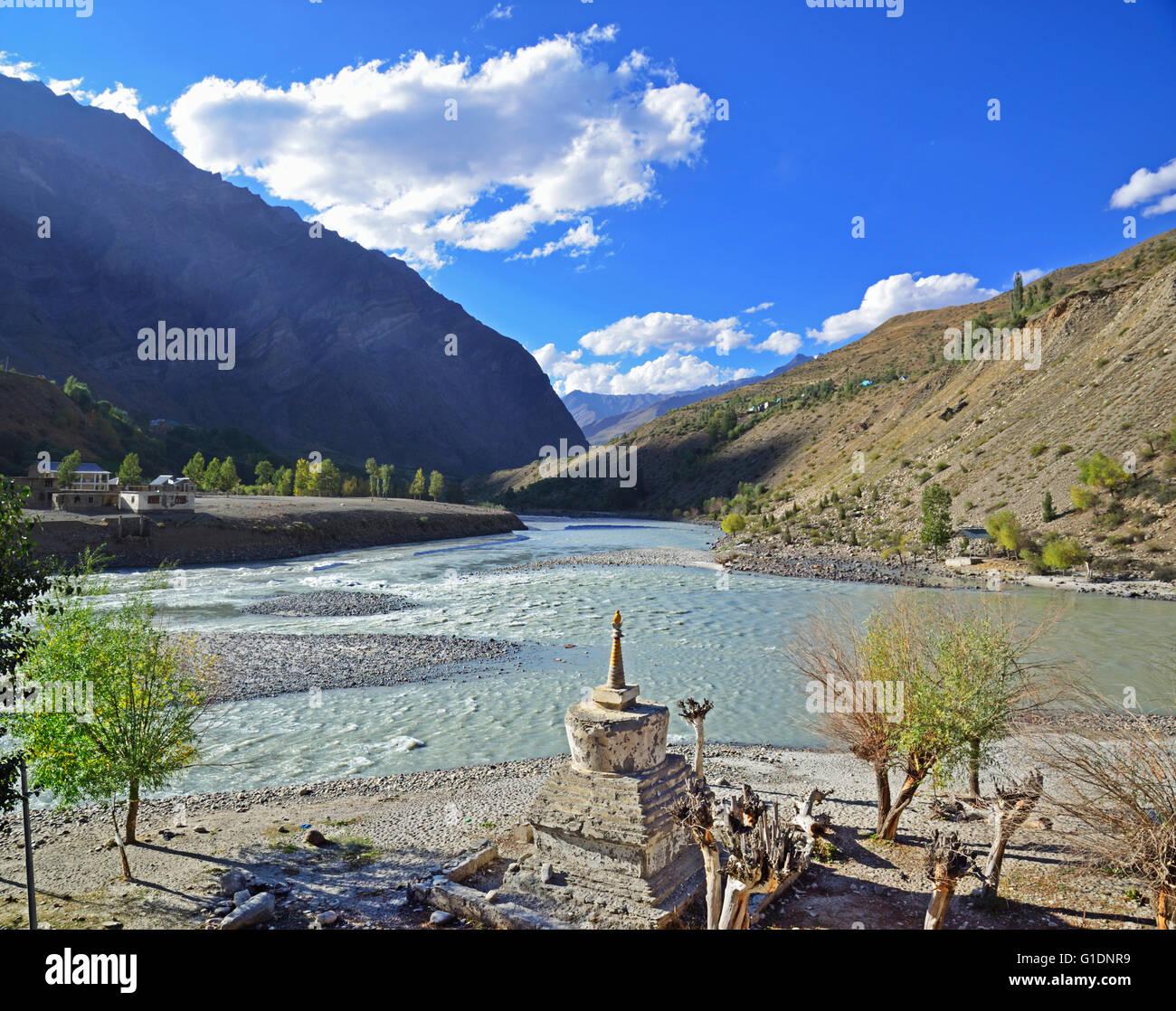 Confluence of Chandra and Bhaga rivers and creation of Chenab river, Tandi, Lahaul, Himachal Pradesh, India - Stock Image