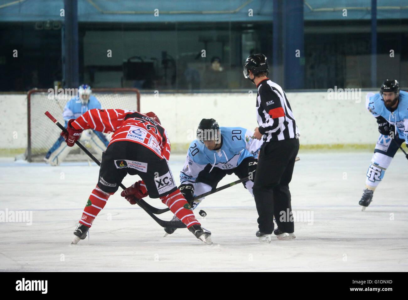 Ice Hockey match.  Mont-Blanc vs Tours.  Face-off. Saint-Gervais-les-Bains. France. - Stock Image