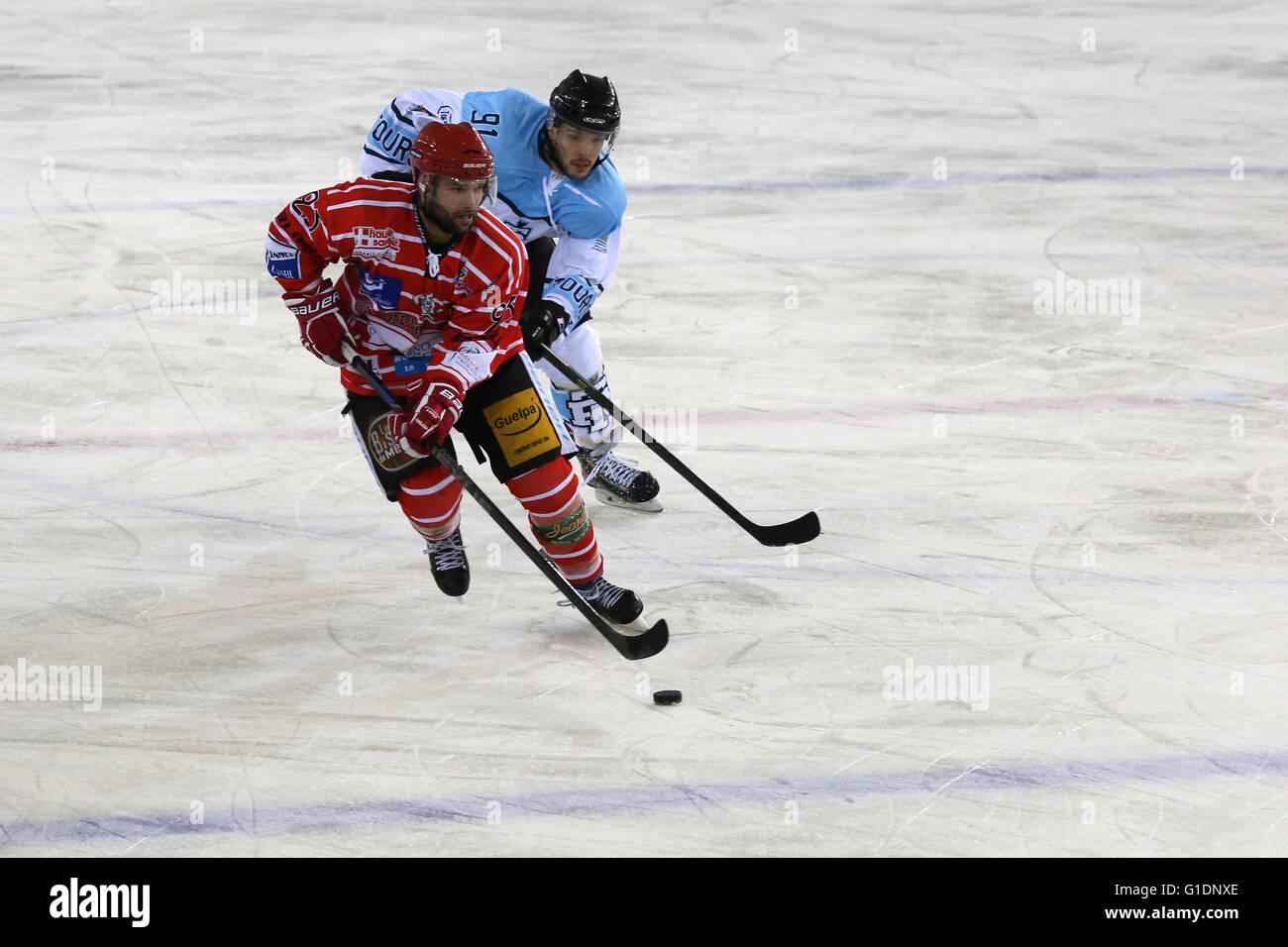 Ice Hockey match.  Mont-Blanc vs Tours.  Saint-Gervais-les-Bains. France. - Stock Image