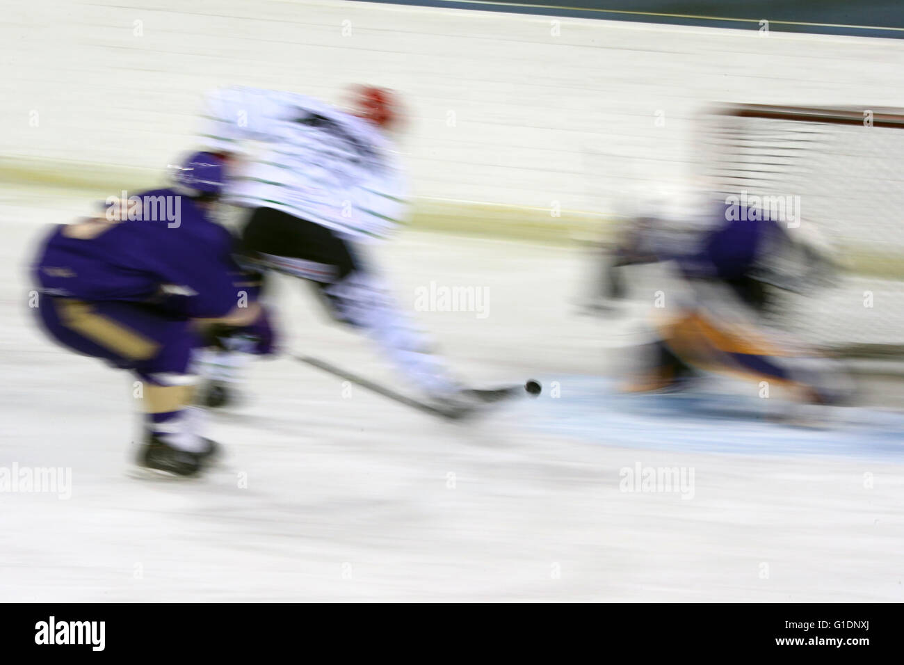 Ice hockey match. Mont-Blanc vs St. Michaels.   Saint-Gervais-les-Bains. France. - Stock Image