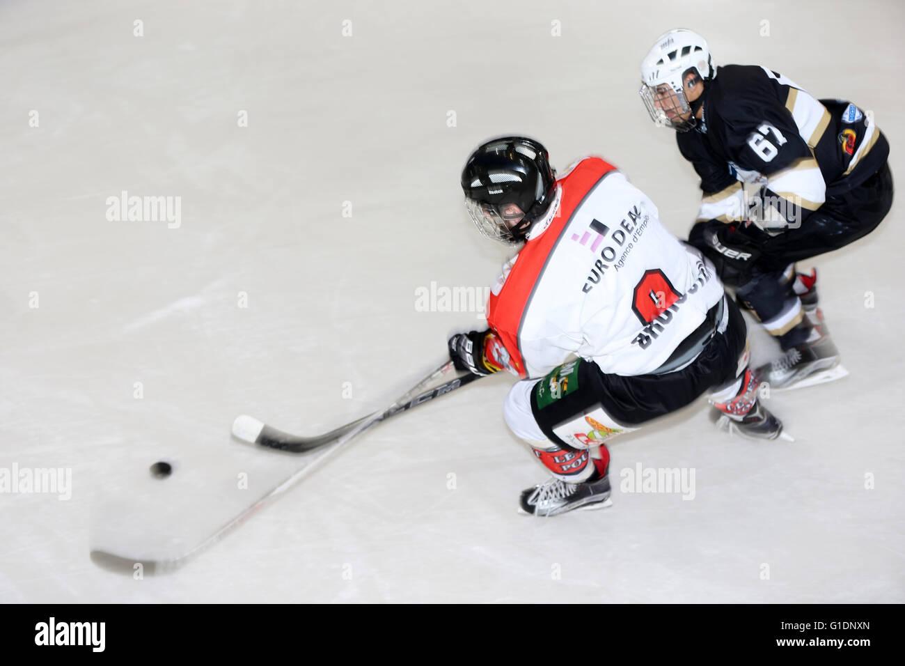 Ice Hockey match.  Mont-Blanc vs Amiens.  Saint-Gervais-les-Bains. France. - Stock Image
