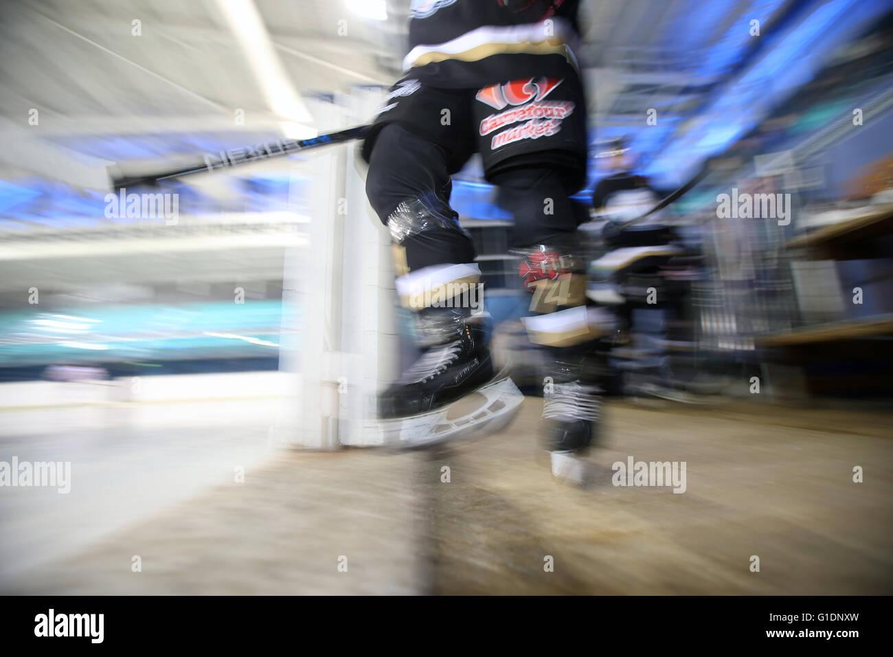 Ice Hockey match.  Mont-Blanc vs Amiens.  Saint-Gervais-les-Bains. France. Stock Photo