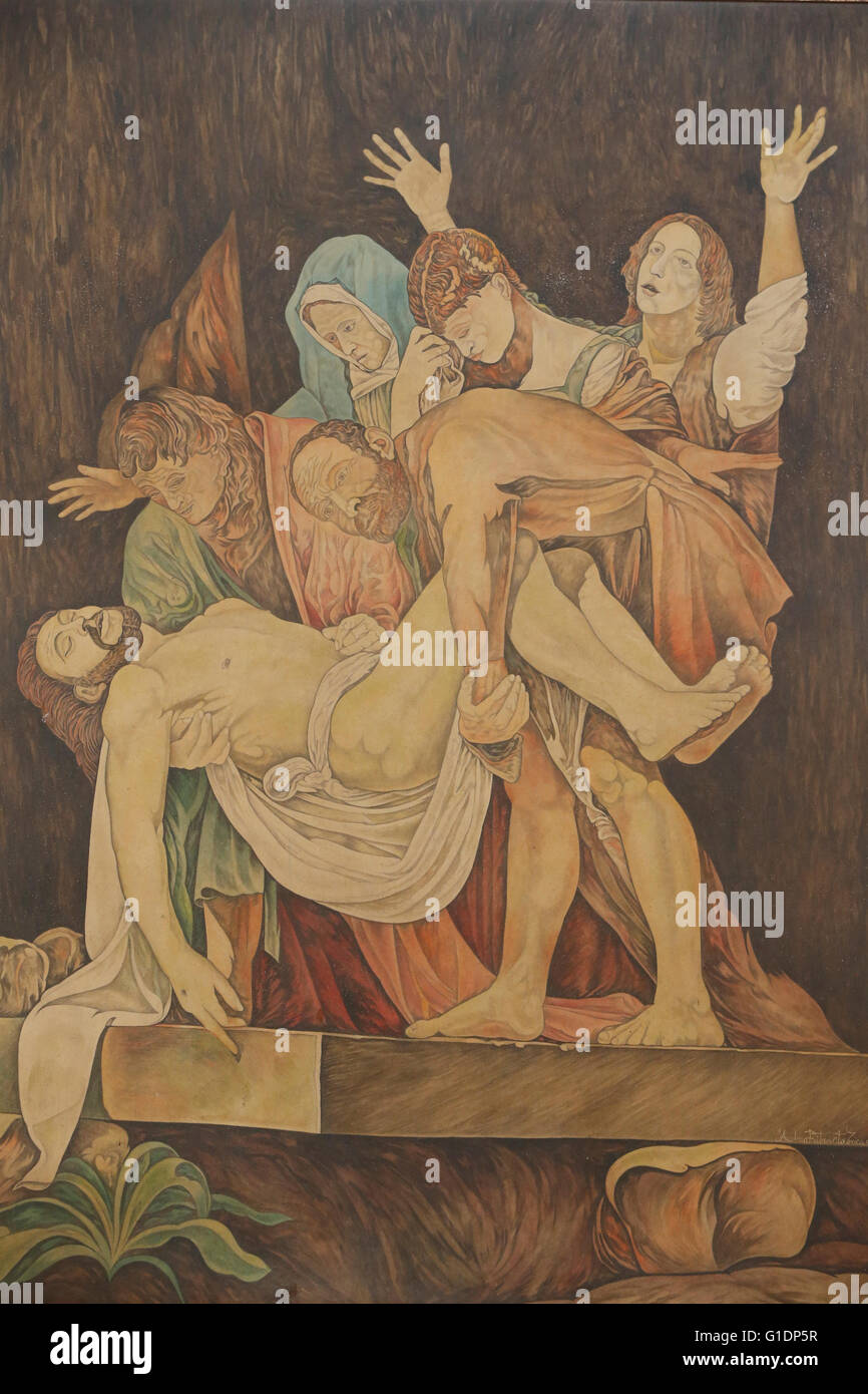 Marquetry work depicting the Entombment of Jesus Christ. Italy. - Stock Image