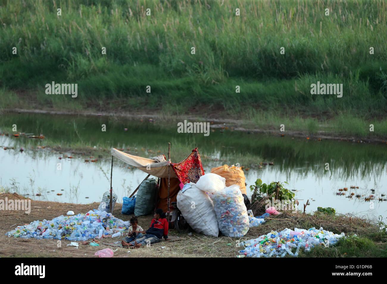 Garbage. Empty water bottles. Vientiane. Laos. Stock Photo