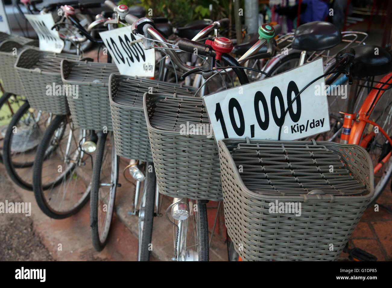 Tourism. Bicycle for rent.  Vientiane. Laos. - Stock Image
