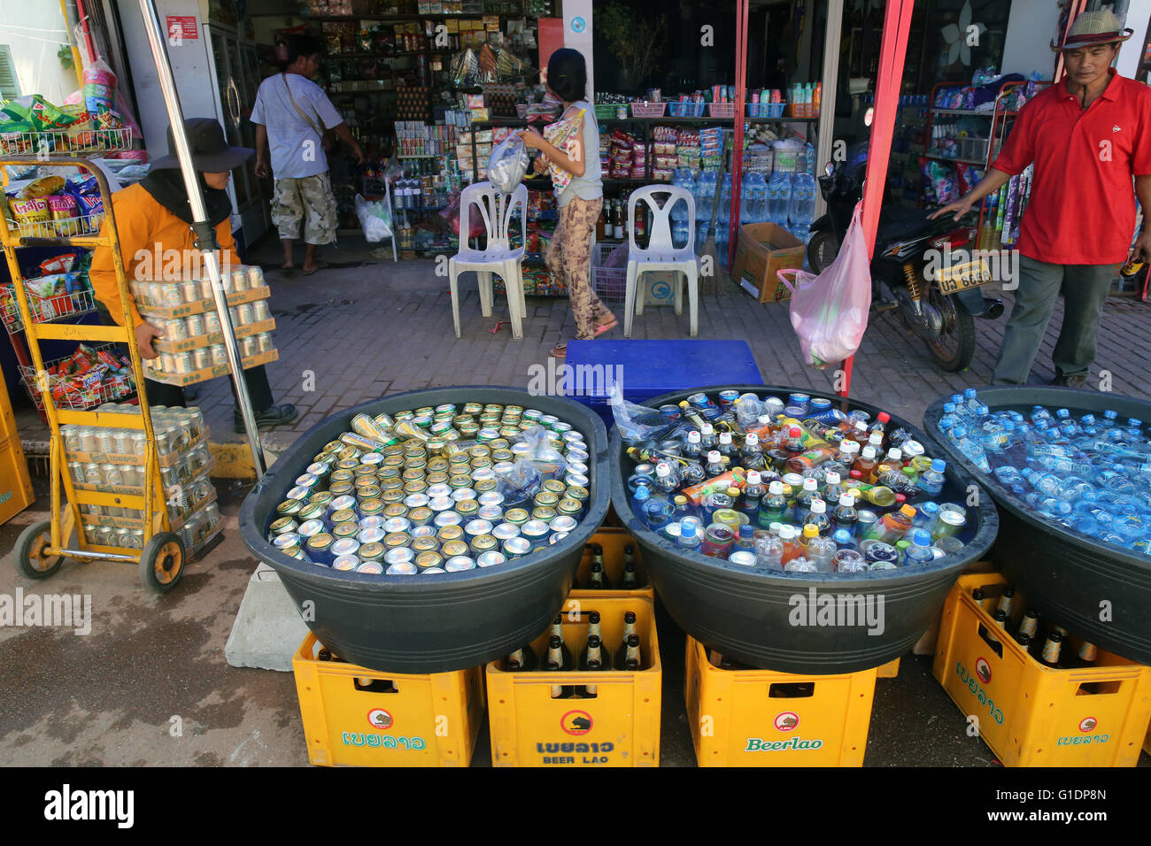 Cold drinks. Beers and sodas.  Vientiane. Laos. - Stock Image