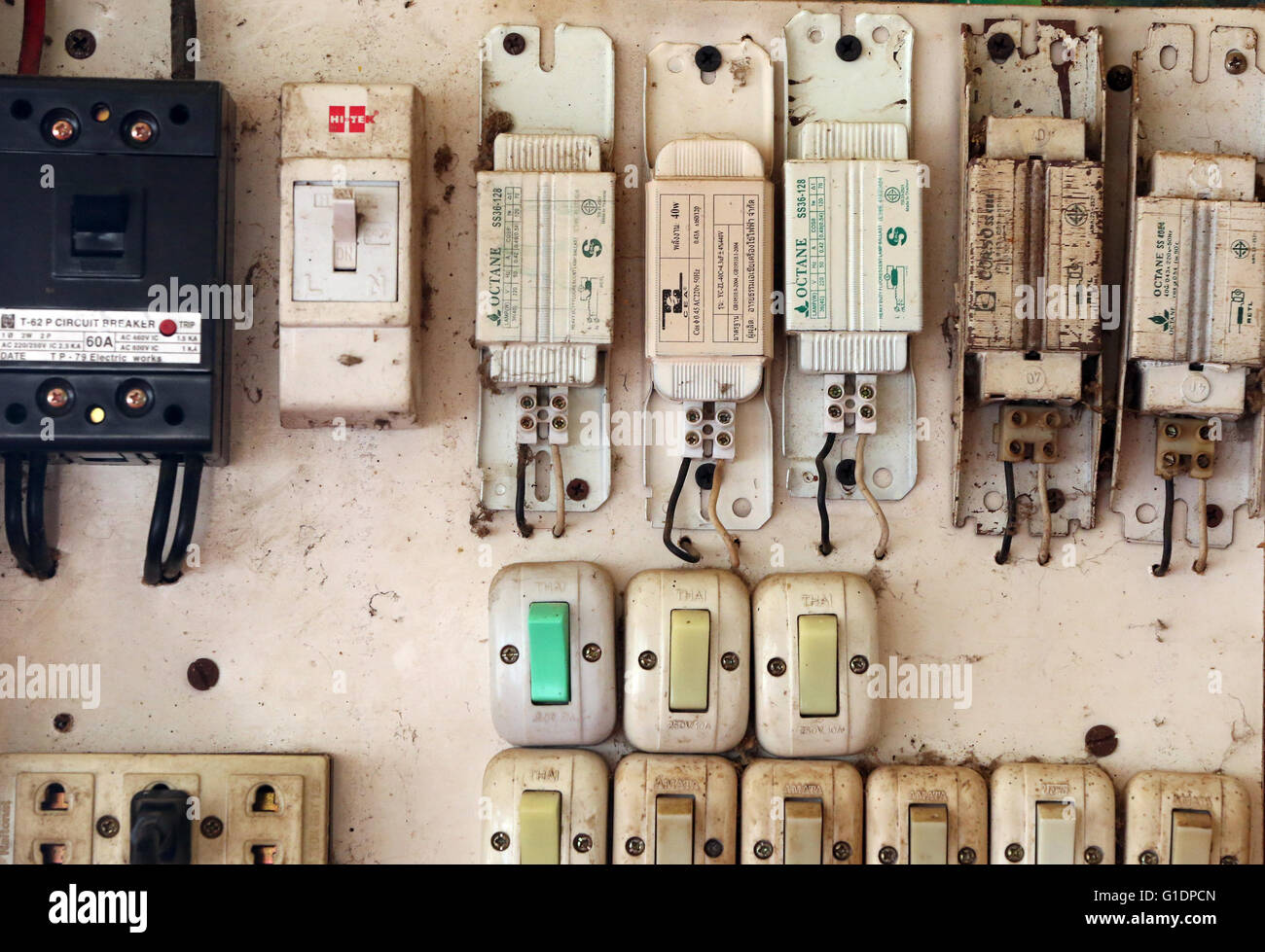 Old electrical switches.  Vang Vieng. Laos. - Stock Image