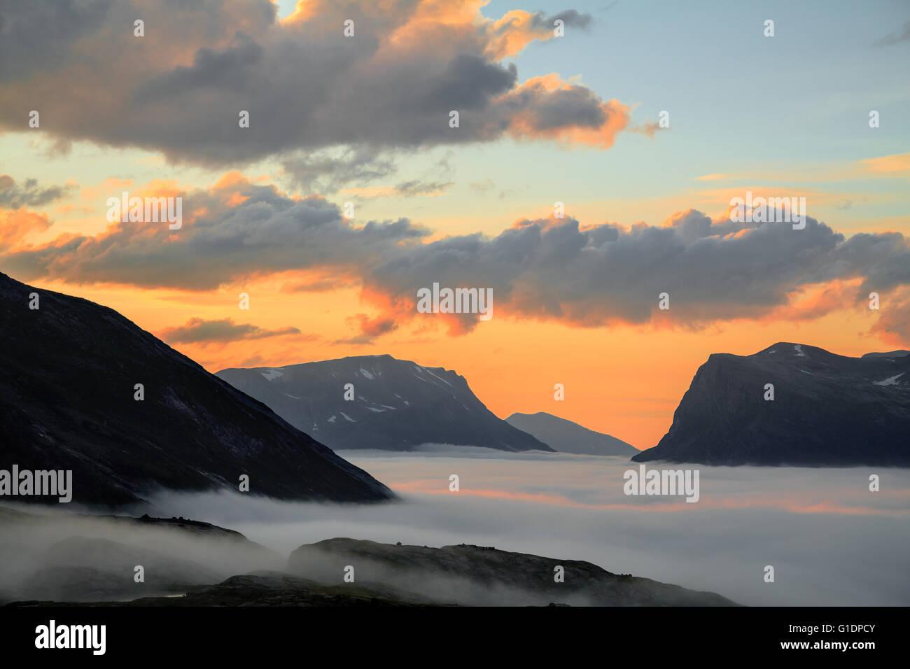 trolls valley in the mist on sunset in Trollstigen, Norway. - Stock Image