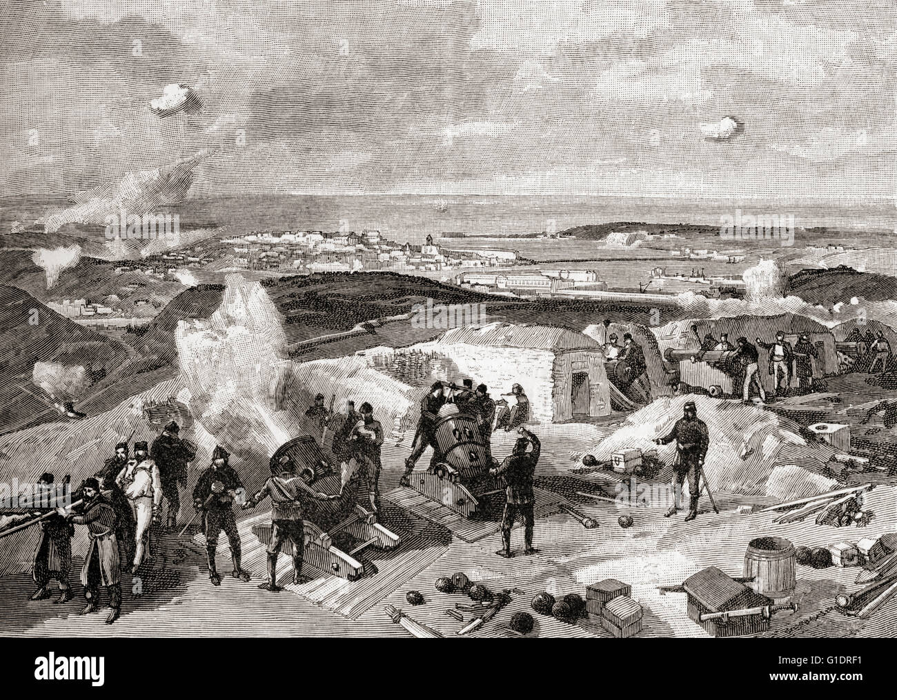 Crimean War, 1853 - 1856.  French troops bombarding the Russian line at the siege of Sebastopol . - Stock Image