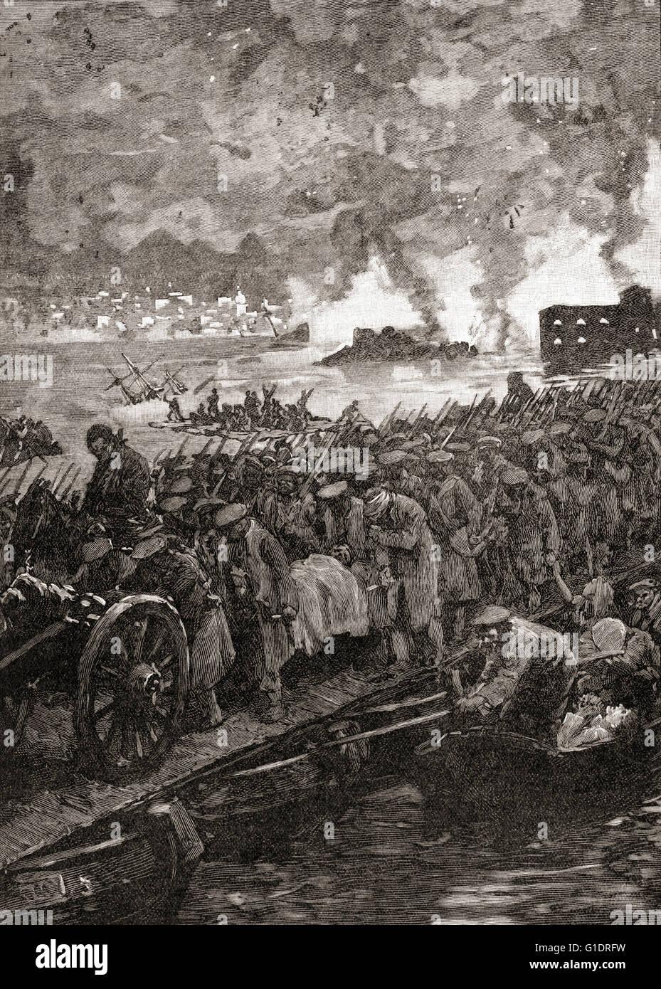Crimean War.  Siege of Sebastopol.  Russian troops retreat from the city, September, 1855. - Stock Image