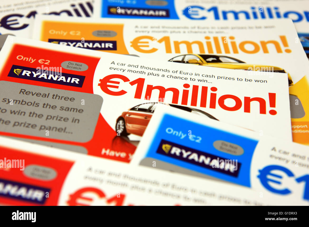 Ryanair scratch cards. Sold on Ryanair flights, a proportion of the proceeds go to a charity selected by the airline - Stock Image