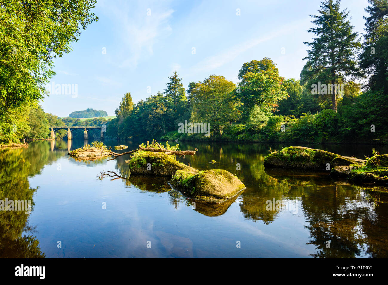 An early autumn morning at Crook o'Lune River Lune Lancaster Lancashire England - Stock Image