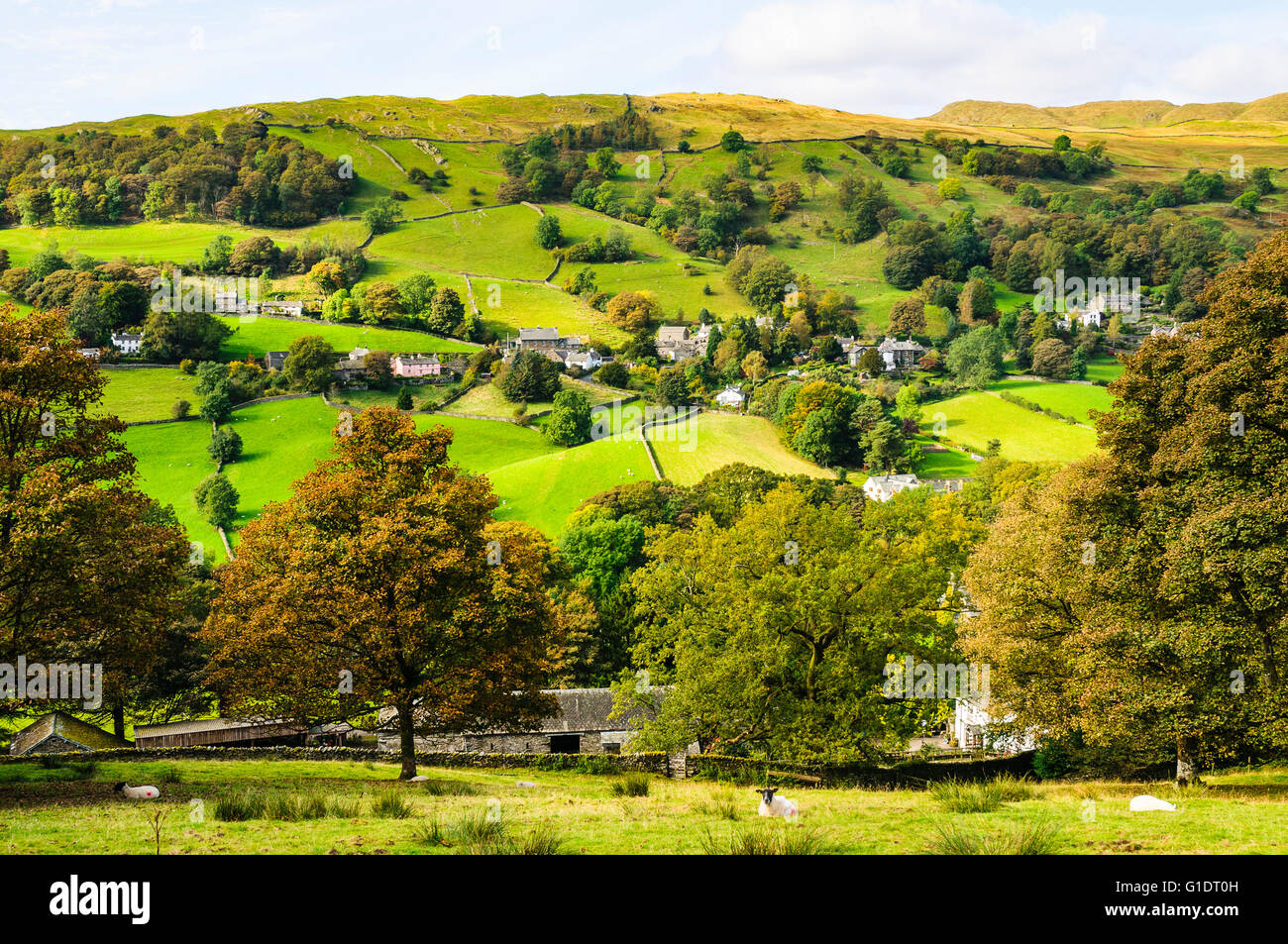 The scattered village of Troutbeck in the Lake District - Stock Image