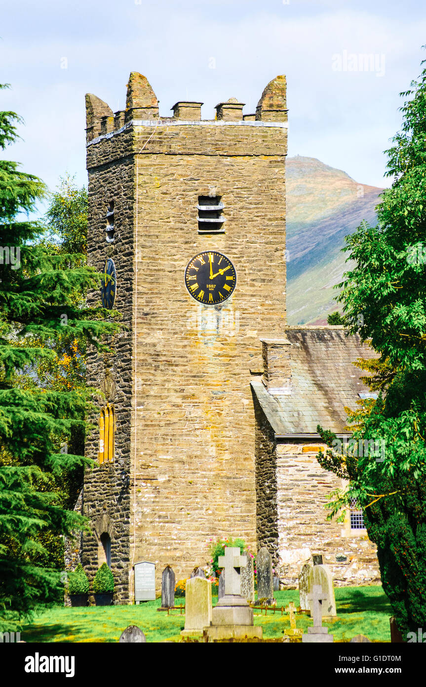 Jesus Church at Troutbeck in the Lake District with the peak of Ill Bell behind Stock Photo