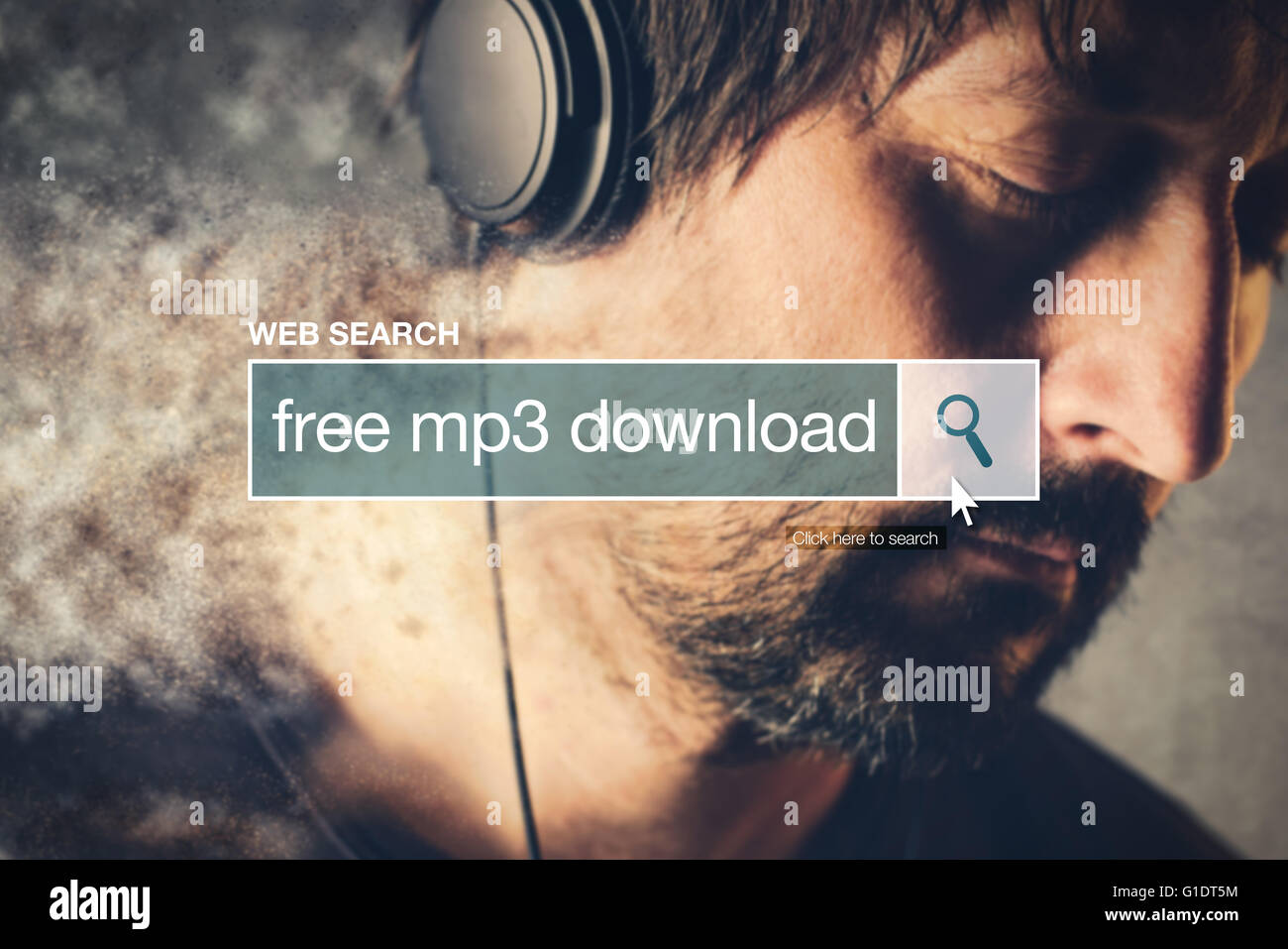 Free mp3 download web search bar glossary term on world wide web network - Stock Image