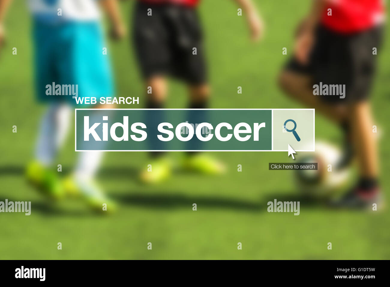 Kids soccer web search bar glossary term on internet - Stock Image