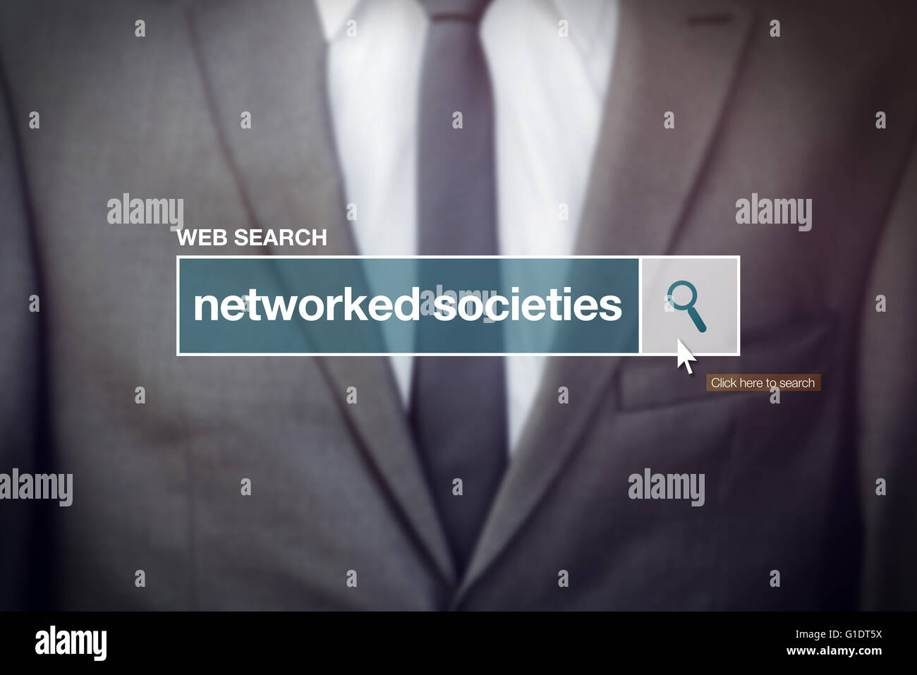 Networked societies web search bar glossary term on internet - Stock Image