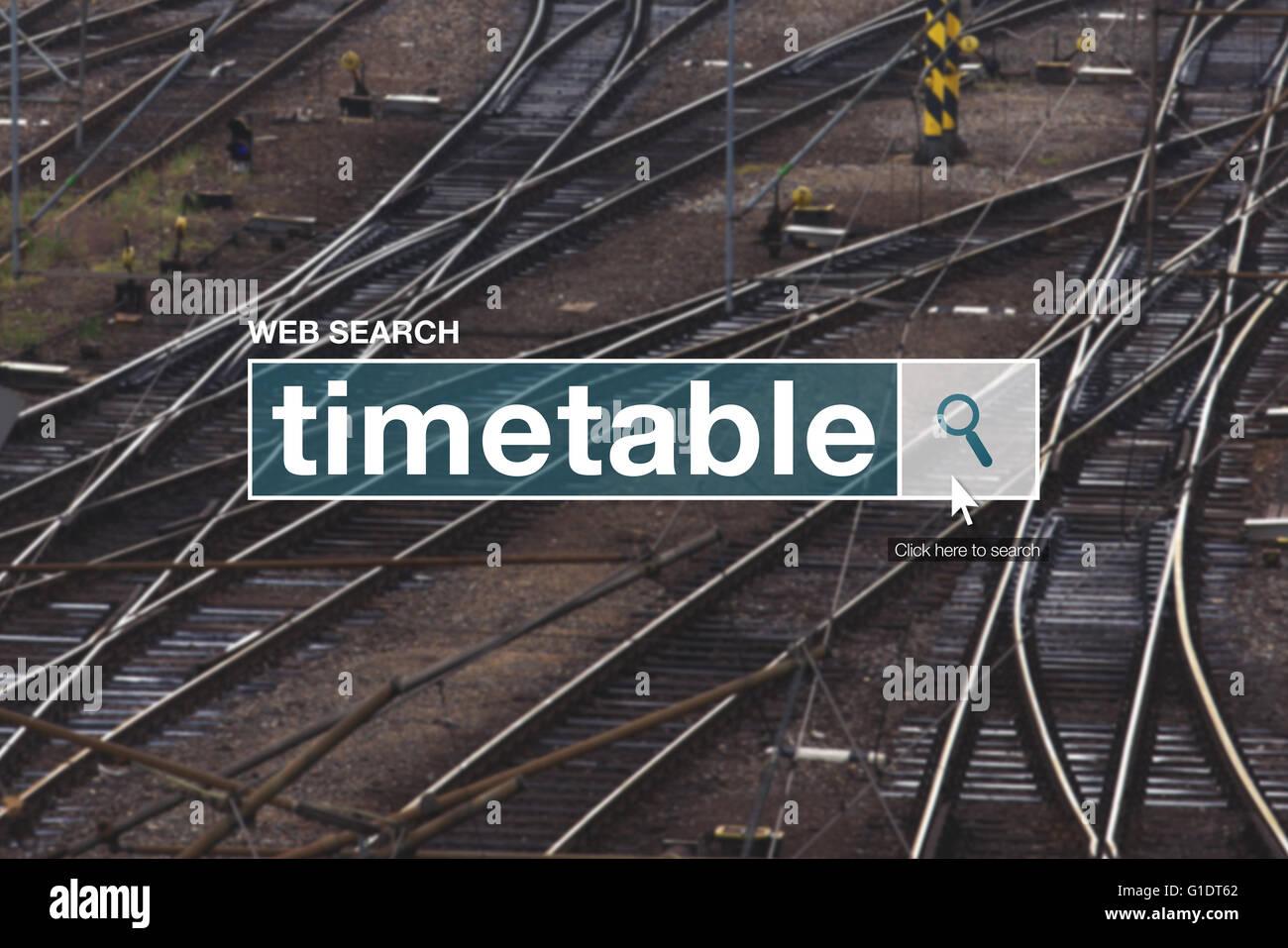 Railway timetable web search box on internet - Stock Image