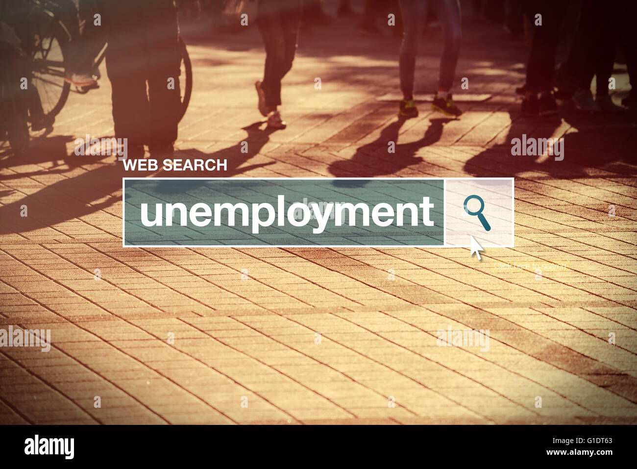 Unemployment web search bar glossary term on internet - Stock Image