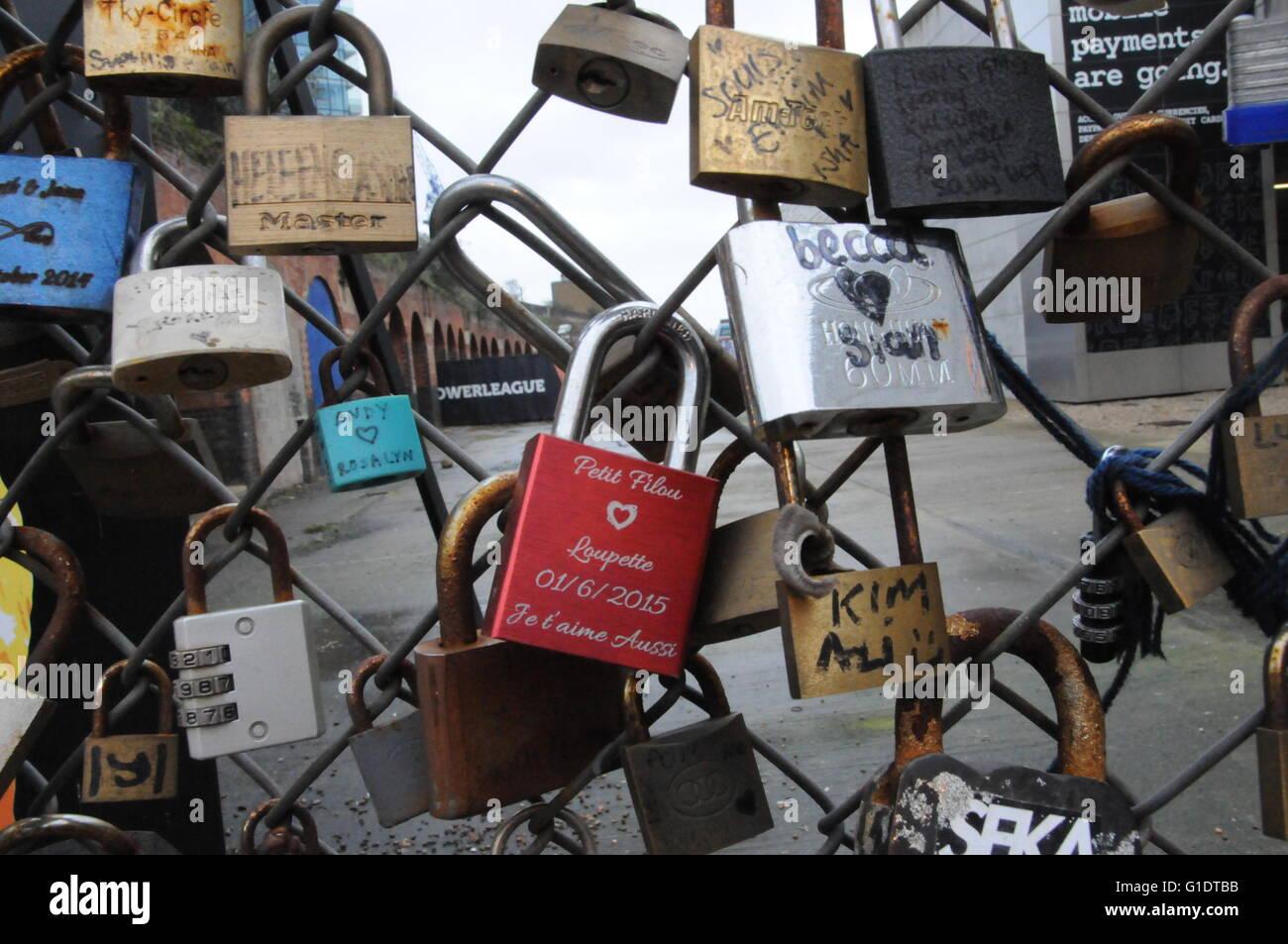 Love locks in Shoreditch, East London, UK - Stock Image