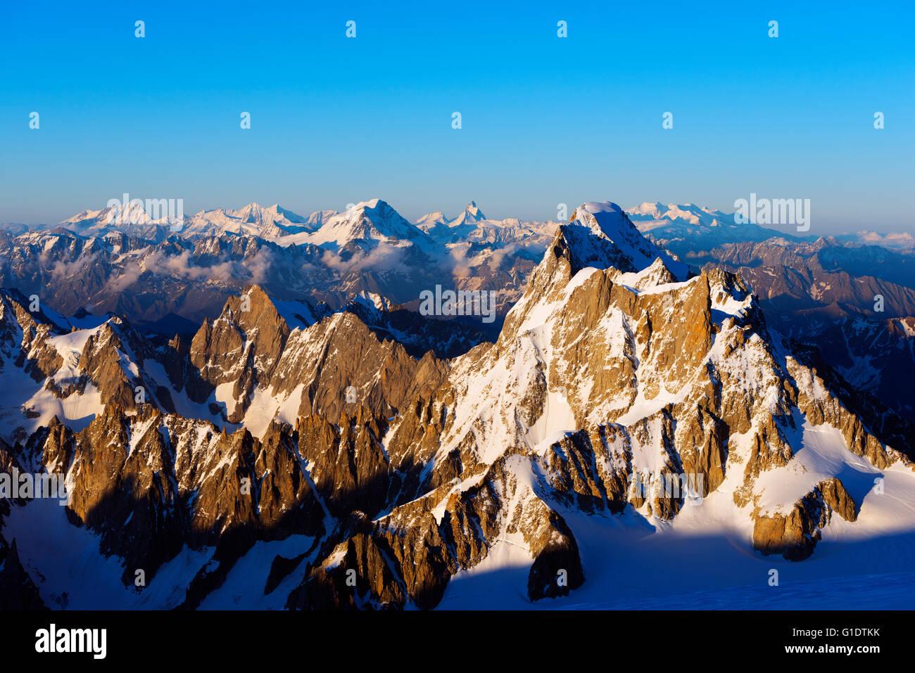 Europe, France, Haute Savoie, Rhone Alps, Chamonix, Grand Jorasses and Grand Combin and Matterhorn in Switzerland - Stock Image