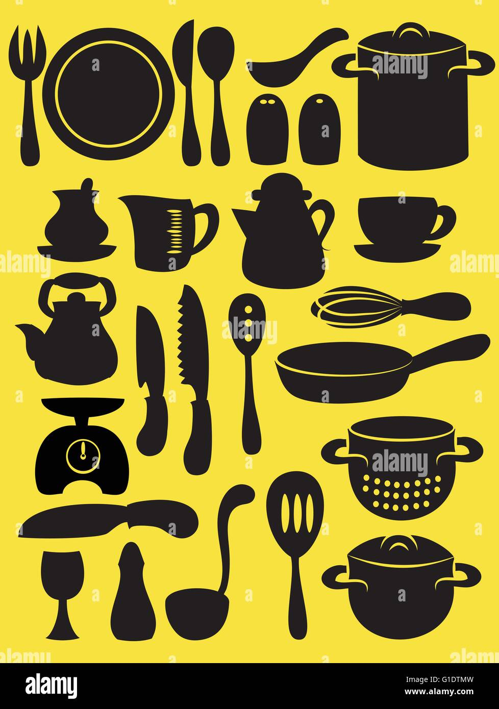 vector illustration of cooking utensil set in silhouette mode on yellow mode - Stock Image